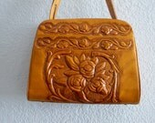 Vintage 70s Boho Mexican Purse Roses Butterflies Floral Hand Tooled Golden Brown Leather Handbag Excellent Condition