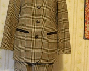 Early 90s AMANDA SMITH Petites Fall Brown Skirt Suit 4P