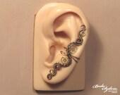STEAMPUNK EAR CUFF - wire wrapped ear cuff,  copper and brass ear cuff, no piercing ear cuff, adjustable ear cuff, steampunk jewelry