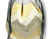 Grellow Chevrons- Small One Skein Knitting Crochet Sewing Project Bag