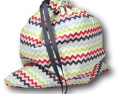 "Rainbow Chevron ""Solo Sheepie"" Project Bag for Knitting, Crochet, or Embroidery"
