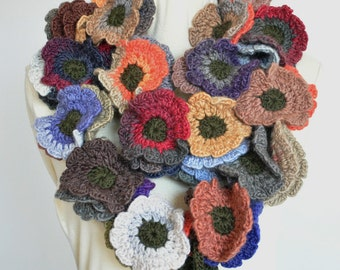 Floral Fall - Long - Earth - Multicolor Crochet Flowers long Scarf