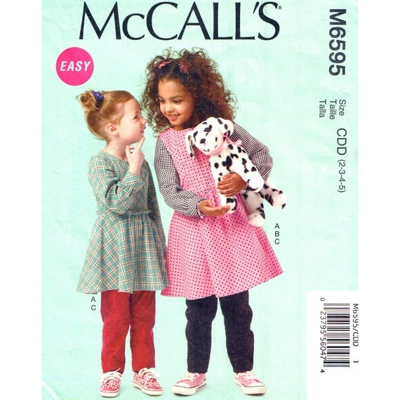 Girls Top Dress Jumper Pants Sewing Pattern McCalls 6595 School Clothes Size 2 3 4 5