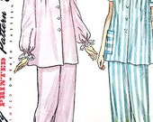 Vintage 1940s Misses' Pajamas Sewing Pattern Simplicity 2598   Bust 32 inches