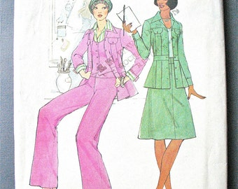 Simplicity 7393 1970s Separates Misses' Unlined Jacket, Vest, Pants and Skirt.  Vintage Sewing Pattern Bust 34
