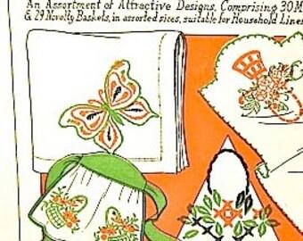 Vintage 1930s Walker number 9 transfer patterns of butterflies and baskets