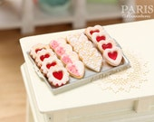 Jam, Iced and Lace Cookies on Metal Baking Sheet - Four Varieties - Miniature Food in 12th Scale for Dollhouse