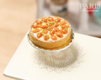 French Apricot Tart (Tarte aux abricots) - Miniature Food in 12th Scale for Dollhouse