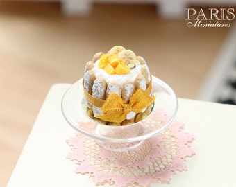 Charlotte decorated with Mango Cubes and Banana Slices - Miniature Food in 12th Scale for Dollhouse