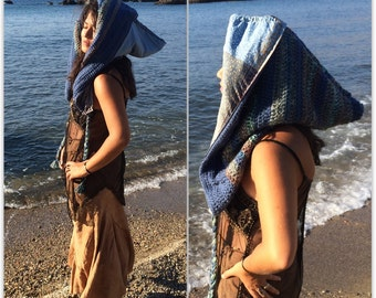 SALE -Sea elven reversible crochet hood