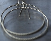 Large thin silver beaded wire hoop earrings