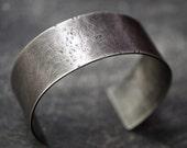 Men's rustic, lightly distressed, hammered sterling silver cuff bracelet