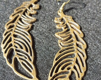 Antiqued Gold Feather Earrings