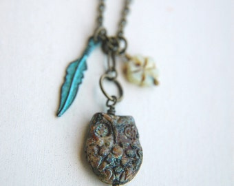 Owl Charm Necklace Bohemian Czech Glass Turquoise Feather - Boho Owl
