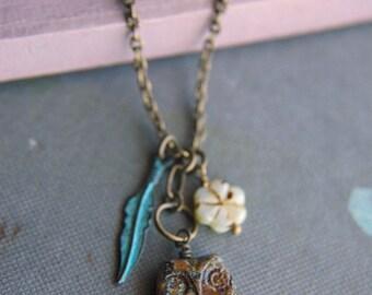 Owl Charm Necklace Bohemian Czech Glass Turquoise Feather - Boho Owl