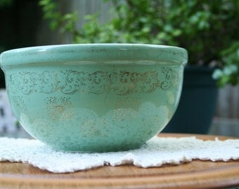 Vintage Teal Hall China Serving Bowl / Made In USA