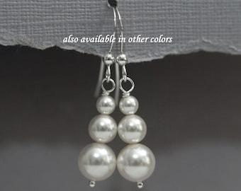 Swarovski White Pearl Earrings, Bridal Earrings, Bridesmaid Earrings, Bridesmaid Gift, Mother of the Bride Gift, Mother of the Groom Gift