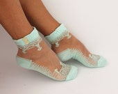 FREE SHIPPING Women Socks, Women's Shoe Accessories, Lace Socks, Mint Green Socks, Hosiery,