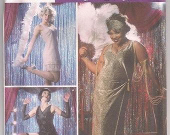 Flapper Dress Simplicity 5400, Flapper Costume, Fringed Flapper Dress, Dress and Headband, Gauntlets, Adult Costume 14 16 18 20 Uncut
