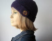 Purple Button Tab Hat, Vegan Knit Beanie, Womens Accessories, Knit Cloche Hat, Purple Hat, Winter Hat,The Clara Hat, Fall Accessories