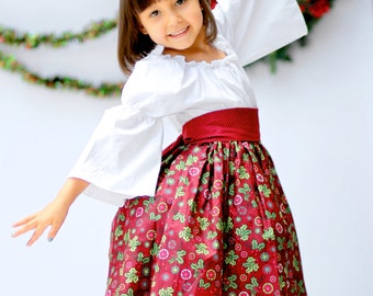 Darling Holiday Peasant Dress - Baby - Girls - Festive - Burgundy Red & White - Holly - Photos - Celebrate