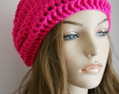 Slouchy Beanie Hat for Women Slouch Hat Womens Crochet Hot Pink Unisex Hat Beret Hat or Tam Hat Skater boy Cap Christmas Gift