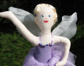 Handcrafted Original Ballerina Fairy doll is soft sculpture doll from heart of Ohio