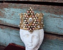 Antique Style Jeweled Crown Shabby Chic for Angel Statue Santos Ornament Distressed Metal with Pearls Clear Rhinestones