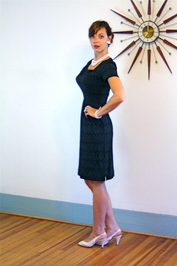 Little Black Dress, Vintage 60s dress, Black Eyelet dress, Wiggle Dress, Sexy Fitted dress, Bombshell dress, 1960s dress, MAD MEN dress, S/M