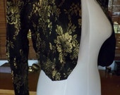 Vintage 80s McClintock Black and Gold Damask Crop Blazer S Free Shipping