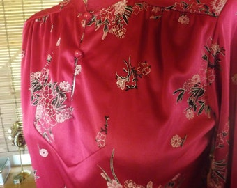 Vintage 70s Raspberry Floral Mandarin Collar Blouse M Free Shipping