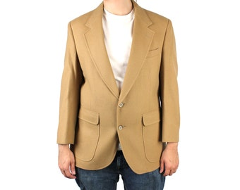 Vintage 80s Blazer 40S 100% Wool Tan Light Brown Sports Coat Professor Jacket Free US Shipping