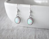 Opal Earrings - 8x10mm Oval Opals -  Sterling Silver Opal Drop Earrings  -  Opal Dangle Earrings with Sterling French Ear Wires