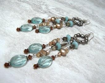 Boho Chic Chandelier Earrings- Long Dangle Beaded Earrings with semi precious stones in Sky Blues Slate Grey & Chocolate Brown