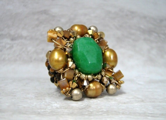 Huge Cocktail Ring in Emerald Green & Gold- Square Victorian Ring Ready to ship in Size 6.5 (Also Available in Turquoise and Gold ) 4103R