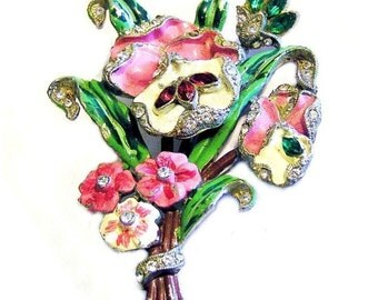 WWII Enamel Rhinestone Flower Brooch Dated 1942