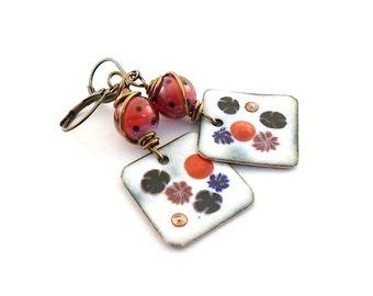 Square Enamel Earrings - Polka Dots Earrings - Boho Earrings - Gypsy Earrings - Brass Earrings - Copper Earrings - Square Earrings - AE008