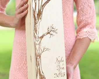 Personalized Wood Wine Box Rustic Wedding, Anniversary, Bridal Shower, Engagement, Housewarming, Christmas Gift (NVMHDA1509)