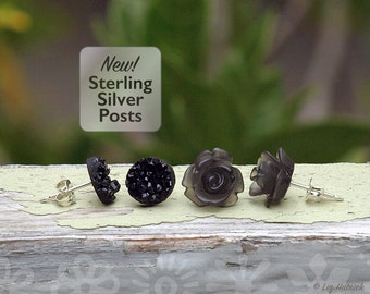 Rose and Faux Druzy Earrings on Sterling Silver Posts, 2 Pair Set, Frosted Black Mini Rosettes and Black Glitter Studs, Boho Chic