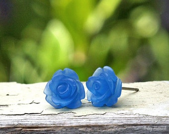 Matte Blue Rose Earrings. Frosted Rosette Studs, Bohemian, Choose Stainless Steel or Titanium Posts