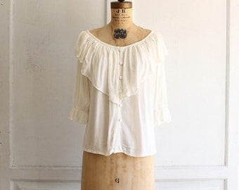 80s white ruffled poet blouse rayon