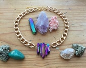 Nebula Aura Quartz Crystal Choker - Rainbow Angel Blue Pink Statement Large Crystals Druzy Gemstone Necklace Raw Black White Bohemian Chain