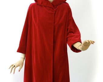 Vintage 50s Opera Dress Coat Red Velveteen w Hood Ladies Swing Coat