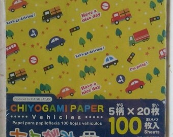 Cute Japanese Chiyogami Origami Paper - Transportation Vehicles Theme - 100 Sheets - Cars, Boats & More - Paper Crafts