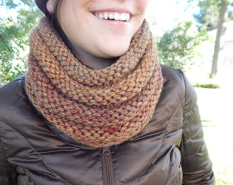 Hand Knit Cowl Infinity Scarf, BOSSO - El Paso Autumn Ribbed Neckwarmer (986 987)