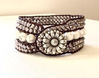 Gemstone Beaded Leather Cuff Bracelet - Grey Agate and Copper Carmen Czech Crystal As Seen on Cedar Cove