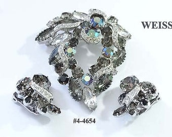 FREE SHIP Signed Weiss Rhinestone Vintage Brooch and Earrings (4-4654)