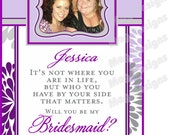 Personalized Bridesmaid Wine Labels - Modern Flower - Chevron - Bridesmaid Gifts - Will you be my Bridesmaid Wine Labels - 5 Labels