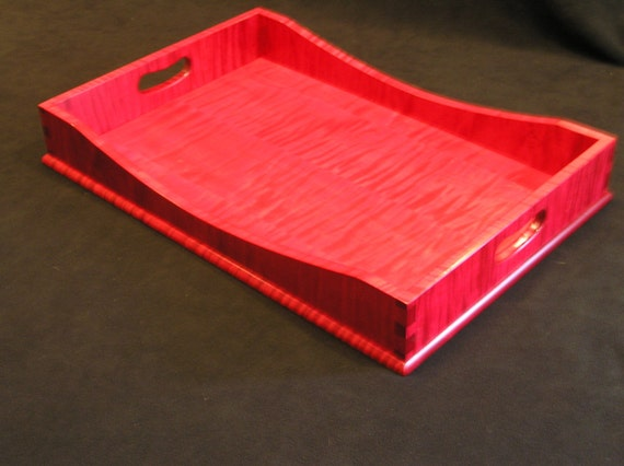 "12"" x 18"" Ruby Red Tiger Maple Serving Tray"