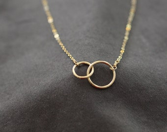 Gold Circles Necklace, Connected Circles, Two Gold Circles, Delicate Gold Necklace, Dainty Necklace, Bridesmaids Gift